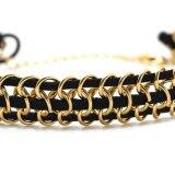 革繊維の金によってめっきされるチェーン方法チョークバルブの不足分のネックレス3つの層の