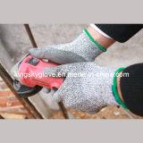 PU покрыл перчатку работы сопротивления отрезока с подкладкой Knit шнура 13G Hppe