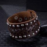 Heißes Verkaufs-Weinlese-Vorstand-Armband hergestellt von Rindleder-Silber überzogenem ledernem Armband