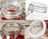 Frasco de vidro da curvatura redonda & quadrada do metal do logotipo da cópia, frasco de vidro superior do balanço
