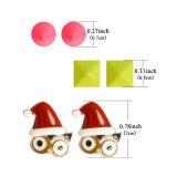 Süßigkeit-Farben-Decklack-Eulen-Quadrat-Niet-Weihnachtshut-Stift-Ohrringe stellten für Frauen ein
