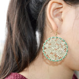 Women를 위한 최신 Retro Handmade Green Rope Wrap Gold Color Stamping Butterfly Flowers Leaf Fashion Dangling Drop Earrings