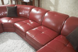 現代余暇の革コーナーの部門別の居間のソファー
