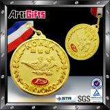 Oro de imitación plateado medalla del metal con la cinta