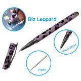 Penna doppia dello stilo del Ballpoint con il leopardo di affari per la strumentazione del comitato di tocco
