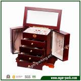 Деревянная косметическая коробка хранения ювелирных изделий с зеркалом