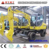 China New Wheel Escavadora Hidráulica Mini Digger 6ton, Xn65-4L