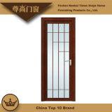 Porte en aluminium de chambre à coucher des graines de panneau en verre en bois d'impression colorée