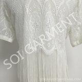 Langes Style Chiffon- Lace Cardigan Blouse für Ladys Clothing (BL-184)