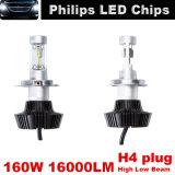 Lumileds H4/H11/9006 160W/Set 8000lm LED 헤드라이트 장비 광도 차 유행에 따라 디자인 하기를 위한 고/저 광속 전구 6000k 일 백색 고성능