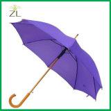 Zwarte Donkere Paraplu Van uitstekende kwaliteit 8 van het Embleem van de Douane van de Bevordering van de Kleur Houten Rechte Buis Auto en Open Handboek