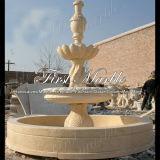 Fontaine en pierre de marbre Mf-298 de lumière d'or de désert de granit de découpage et de sculpture