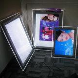 Caixa leve de cristal do diodo emissor de luz do frame acrílico da foto para anunciar