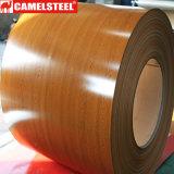 La couleur modelée en bois de PPGI a enduit la bobine en acier enduite par zinc