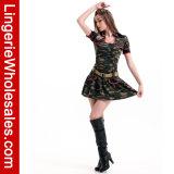 Costume ребёнка армии причудливый платья Camo фронта застежки -молнии партии Halloween женщин сексуальный