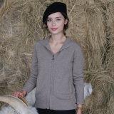 Dame-mit Kapuze Strickjacke mit Reißverschluss-Kaschmir 100%