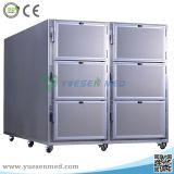 Congelador mortuorio del mortuorio del refrigerador de la carrocería del acero inoxidable de la carrocería de la alta calidad 6 de Yuesenmed
