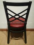 レストランの家具の黒ビニールのシート「X」の背部金属のレストランの椅子
