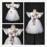 Vestido Ivory da menina de flor da luva do bordado