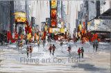 100%の手塗りの通りの景色の油絵