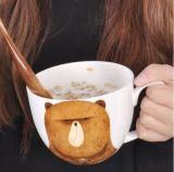 Taza de cerámica de la sopa de la capacidad grande de la aduana 14oz de la alta calidad con la cuchara de madera