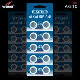 Heiße verkaufenAG10 1.5V alkalische Tasten-Zellen-Batterie für Uhr