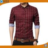 2017 남자는 적당한 우연한 셔츠 면 긴 소매 셔츠를 체중을 줄인다