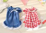 Vêtements mignons d'animal familier d'été de robe de crabot de modèle de lacet de coton