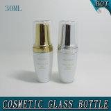 botella cosmética de cristal blanca y tarro de la perla de acrílico elegante de la cubierta de 30ml 50g