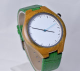 Reloj verde modificado para requisitos particulares del cuero del Wristband del cuero genuino