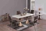 ローズの金のガラスダイニングテーブルは黒いガラスとセットした