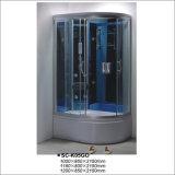 Cabine de massagem de vidro com temperado luxuoso de canto reversível Quarto de banho de vapor com bandeja de forma oval