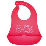 넓은 캐처를 가진 빨간 황소 아기 착용 FDA 음식 급료 실리콘 아기 수도꼭지