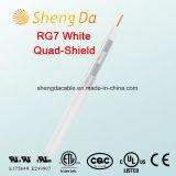 Коаксиальный кабель экрана квада Rg7 белый крытый или напольный