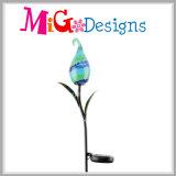 Estaca leve solar de vidro do jardim do teste padrão de flor do diodo emissor de luz