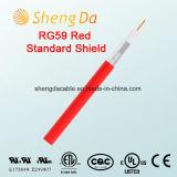 Cable coaxial rojo para CATV - fábrica del blindaje estándar Rg59