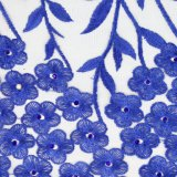 Commercio all'ingrosso nuziale del tessuto ricamato del merletto del fiore di colore rosso 3D