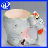 手塗り3D動物のカエルの漫画のハンドルのマグのコップのミルクの茶陶磁器のコーヒー・マグ