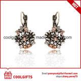 Pendientes cristalinos coloridos del partido de la joyería del clip del oído de la flor de la aleación de las señoras