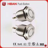 interruptor de tecla liso Hyper da luz do círculo de 16mm