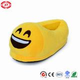Zapato relleno suave de Emoji del deslizador de la expresión de la mirada de la felpa amarga del amarillo