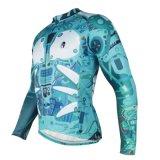 O Indigo Jersey de ciclagem modelada robô cobre o revestimento seco rápido respirável da luva longa dos homens