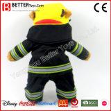 プラシ天のぬいぐるみの消防士のテディー・ベアの赤ん坊の子供のための柔らかいおもちゃくま