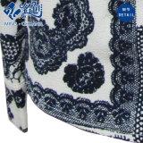 灰色の黒い編まれた見通し古代様式花パターンくり抜く方法ブラウス