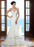 Vestito da cerimonia nuziale nuziale del merletto della sirena dell'abito di cerimonia nuziale degli spaghetti CB2192