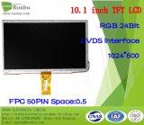 """10.1 """" écrans de TFT LCD de 1024X600 RVB Lvds, 50pin pour la position, sonnette, médicale"""