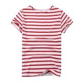 T-shirt à rayures unisexe à rayures blanc et rouge à unisexe