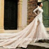Robe de mariage nuptiale de sirène de chemises de robe de mariage de Champagne longue Lb897