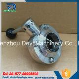 Válvula de mariposa de la soldadura de la categoría alimenticia del acero inoxidable SUS304 SMS