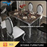 Mesa de jantar em aço inoxidável de vidro preto